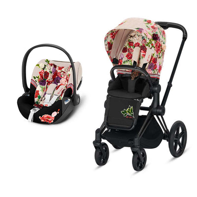 CYBEX Priam Travel System - Spring Blossom Light-Travel Systems-Matt Black-None-Cloud Z- Natural Baby Shower
