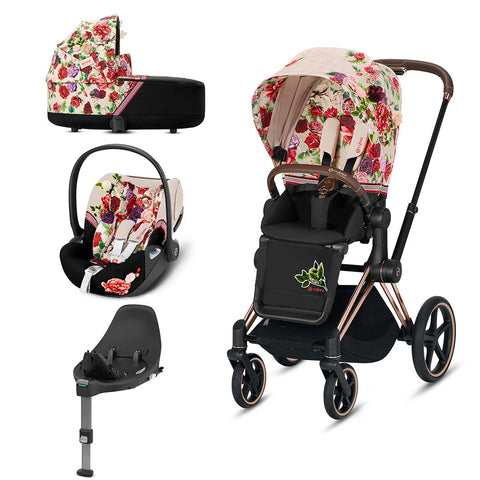 Cybex Priam Travel System - Spring Blossom Light-Travel Systems-Rose Gold-Lux-Cloud Z + Base- Natural Baby Shower