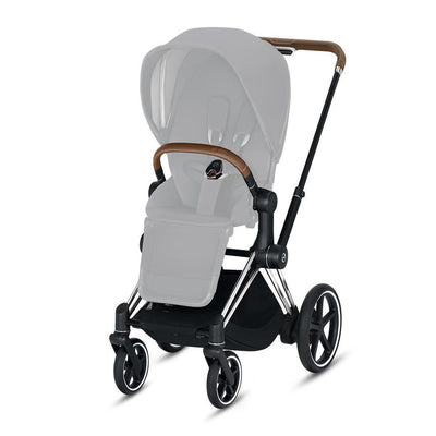 CYBEX ePriam Frame with Seat Hardpart - Chrome + Brown-Stroller Frames- Natural Baby Shower