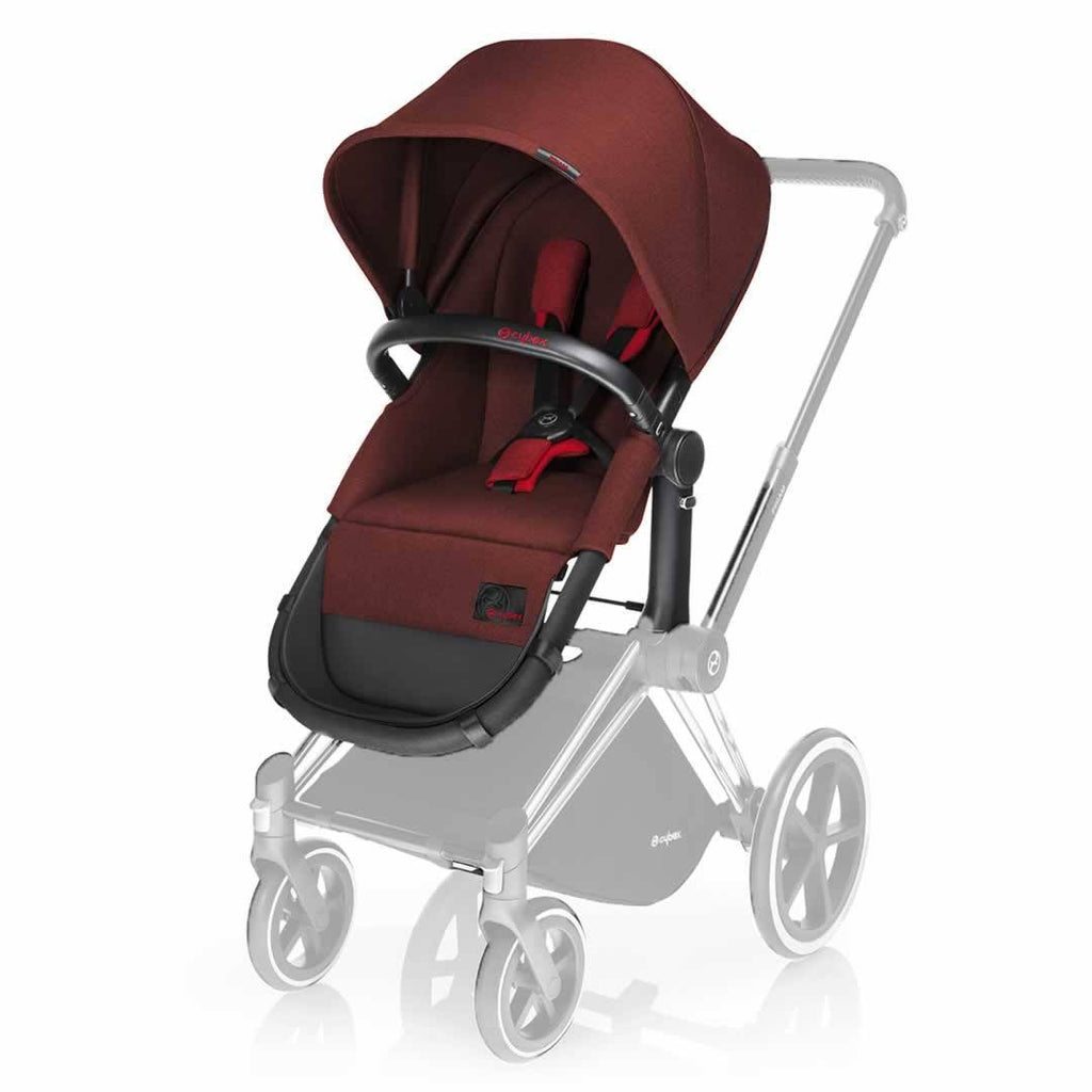 Cybex Priam Pushchair with Mars Red 2-in-1 Seat Black Chassis