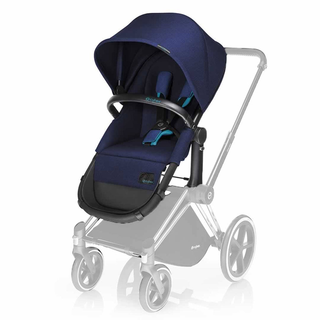 Cybex Priam Pushchair with Cybex Priam Pushchair with 2-in-1 Seat - Black Chassis + Royal Blue 2-in-1 Seat Black Chassis