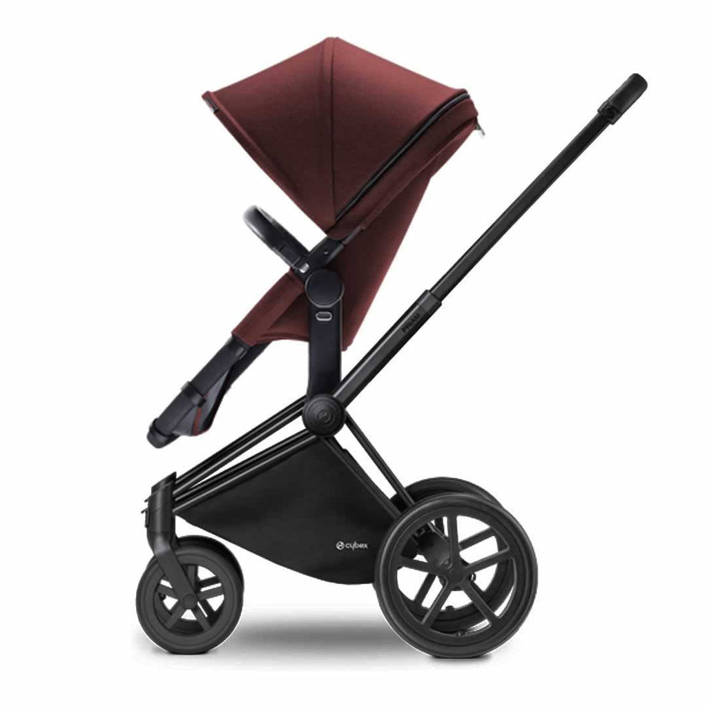 Cybex Priam Pushchair with 2-in-1 Seat in Black Chassis + Mars Red
