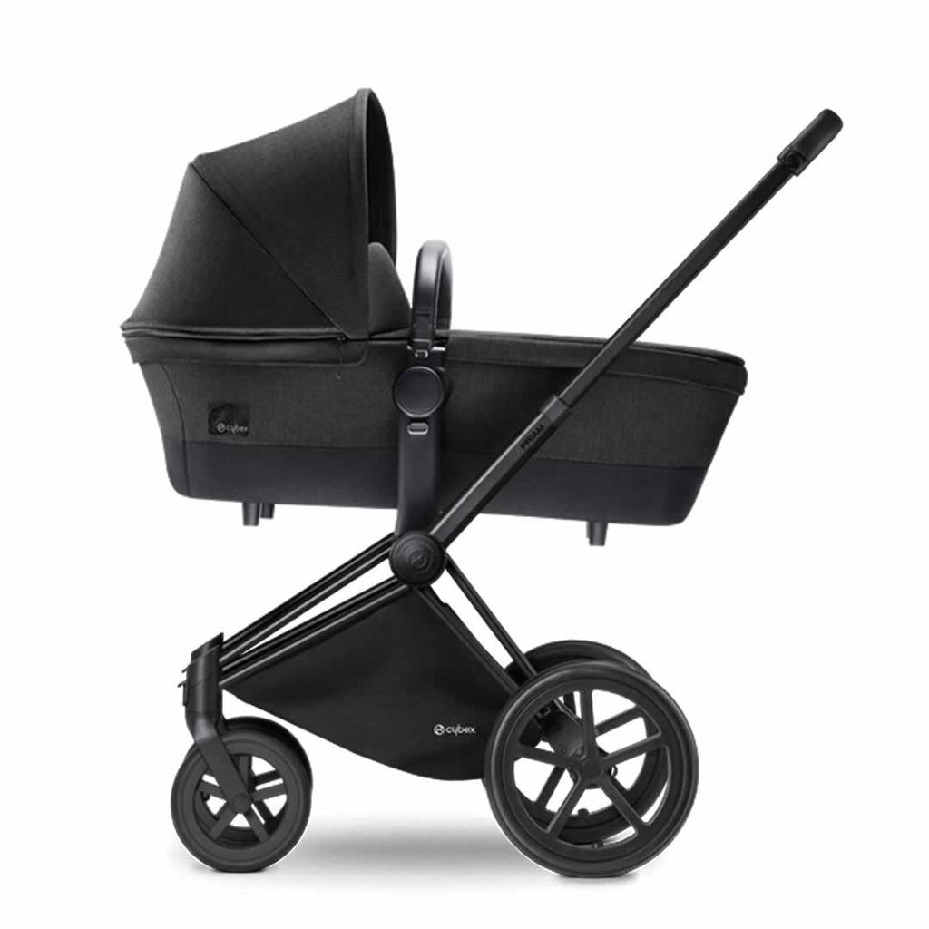 Cybex Priam Pushchair with Carrycot in Black Chassis + Happy Black