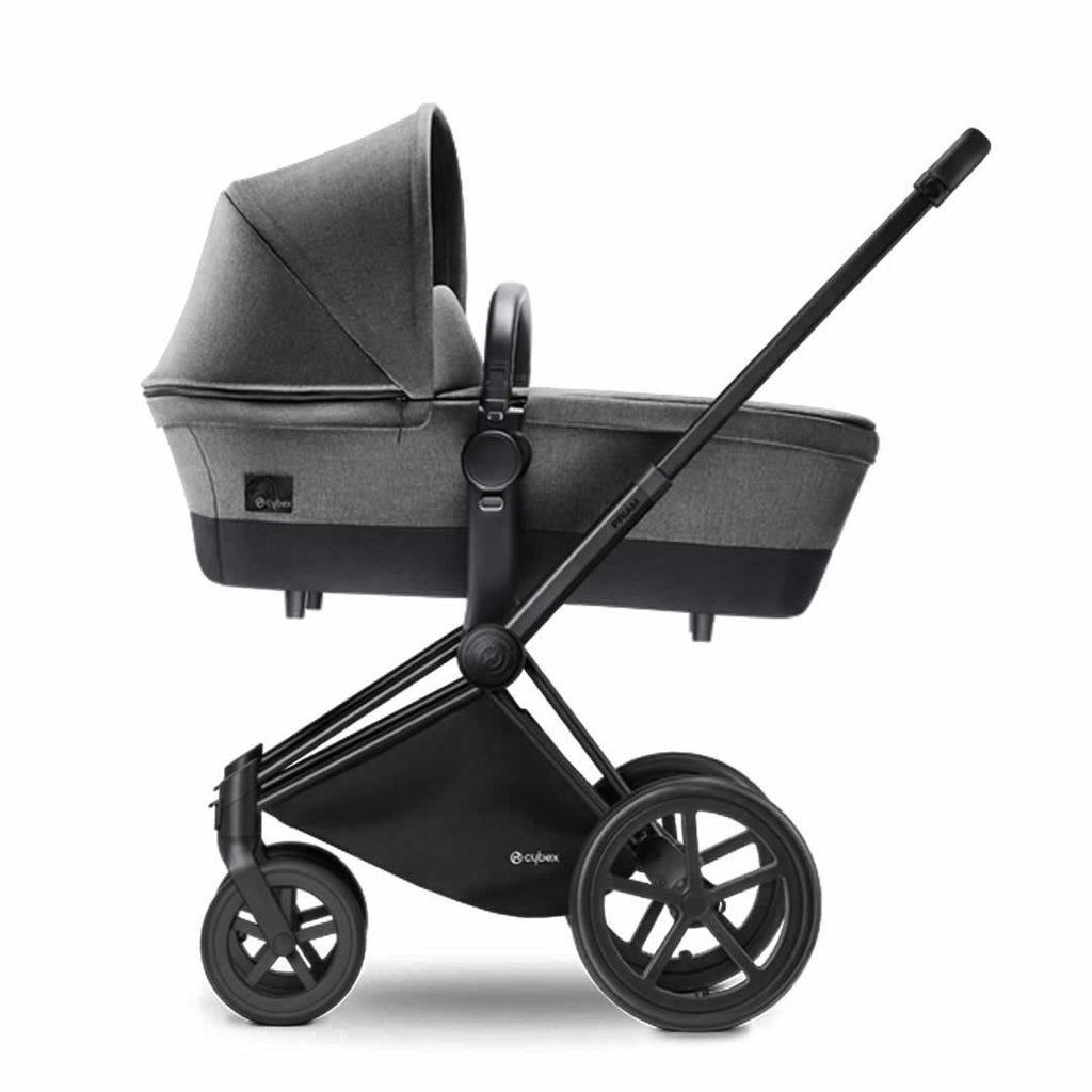Cybex Priam Pushchair with Carrycot - Black Chassis + Manhattan Grey-Strollers- Natural Baby Shower