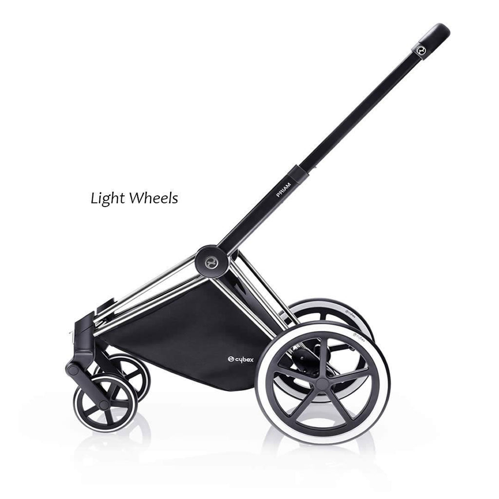Cybex Priam Pushchair with Carrycot Black Chassis + Happy Black Light Wheels
