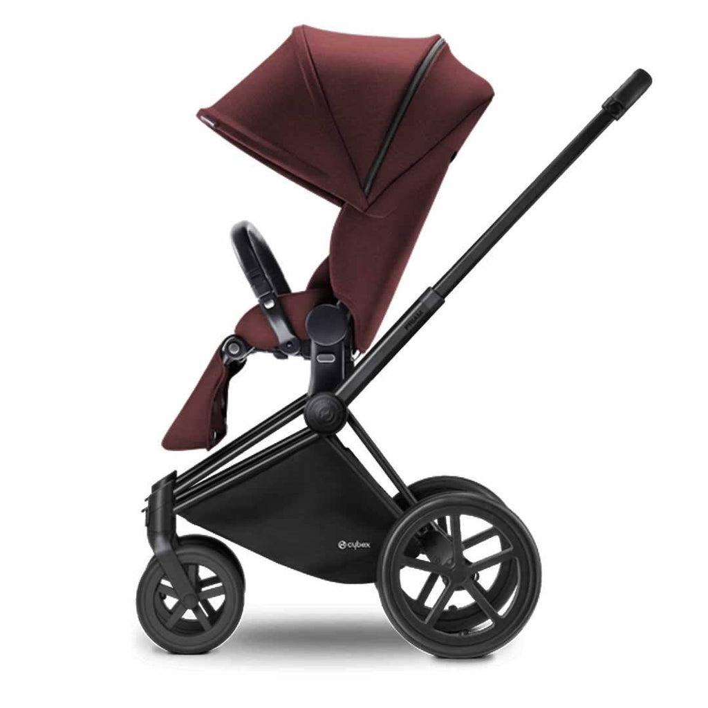 Cybex Priam Pushchair with Lux Seat - Black Chassis + Mars Red - Strollers - Natural Baby Shower