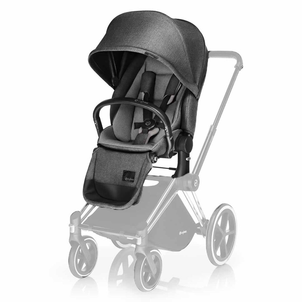 Cybex Priam Pushchair with Lux Seat in Black Chassis + Manhattan Grey