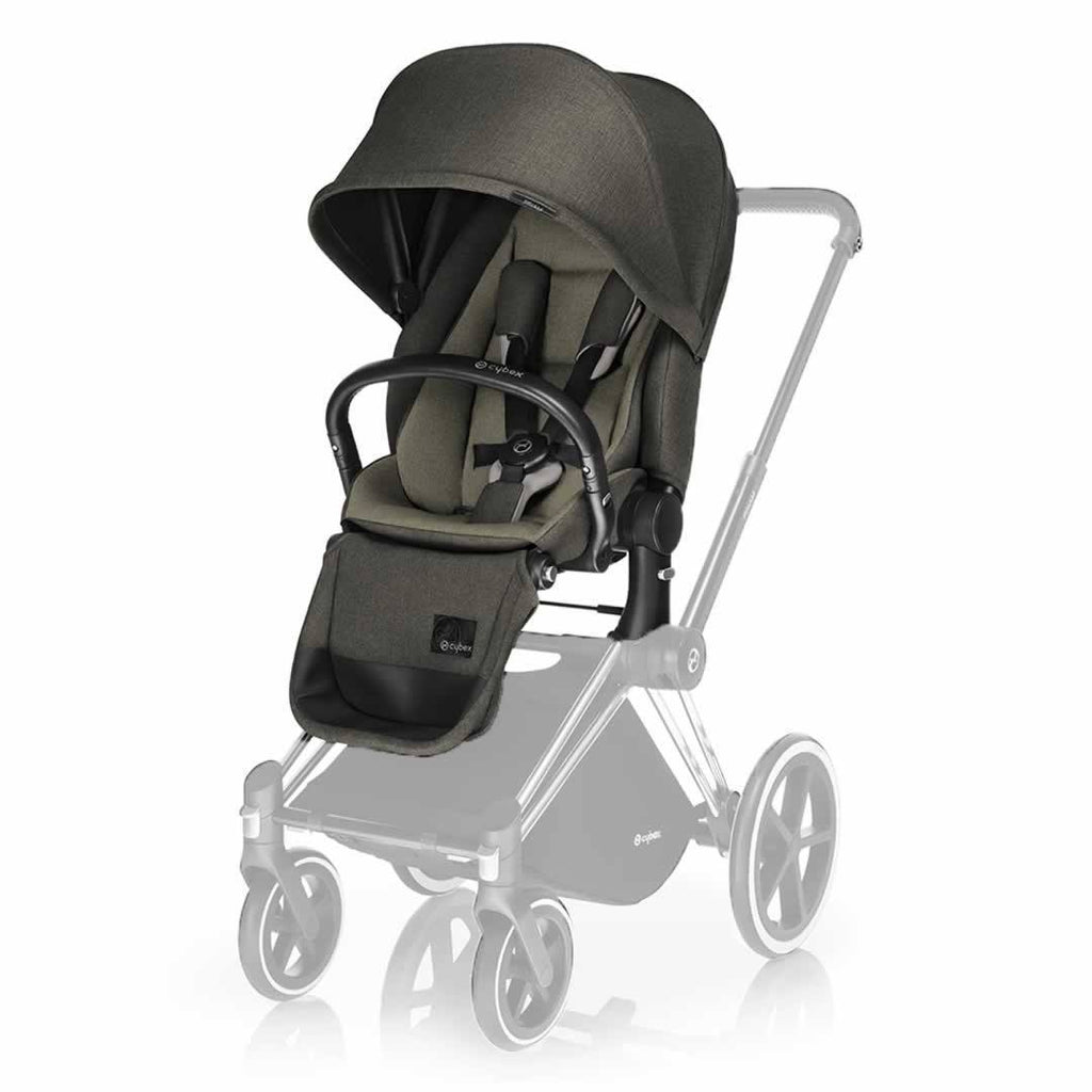 Cybex Priam Pushchair with Lux Seat in Black Chassis + Olive Khaki