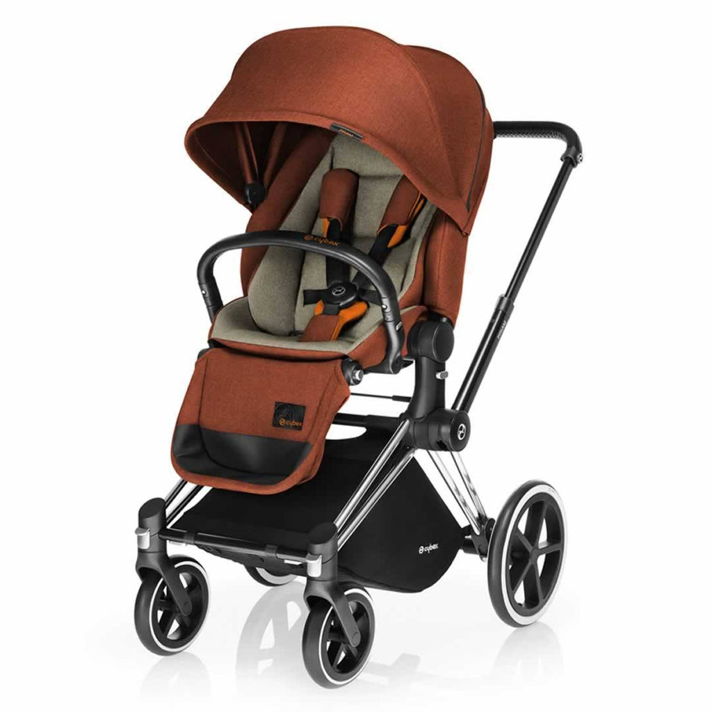 Cybex Priam Pushchair with Lux Seat - Chrome Chassis + Autumn Gold - Strollers - Natural Baby Shower