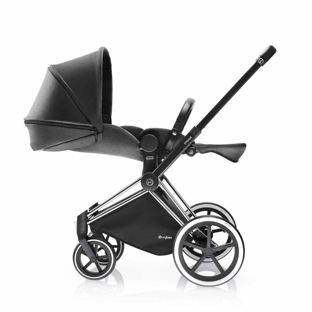 Cybex Priam Pushchair with Lux Seat - Chrome Chassis + Manhattan Grey - Strollers - Natural Baby Shower