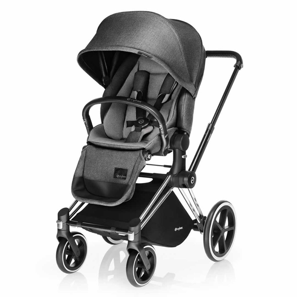 Cybex Priam Pushchair with Lux Seat - Chrome Chassis + Manhattan Grey-Strollers- Natural Baby Shower