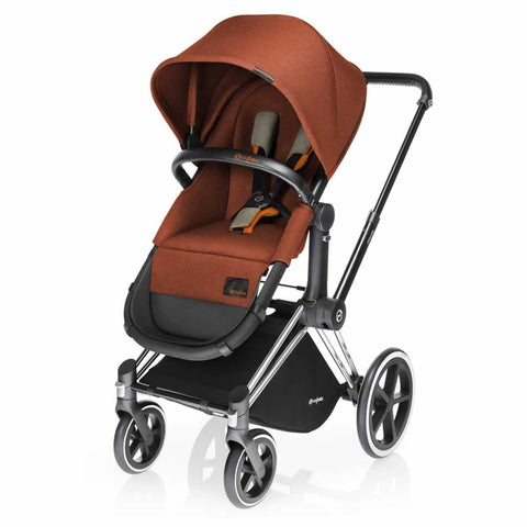 Cybex Priam Pushchair with 2in1 Seat - Chrome Chassis + Autumn Gold - Strollers - Natural Baby Shower
