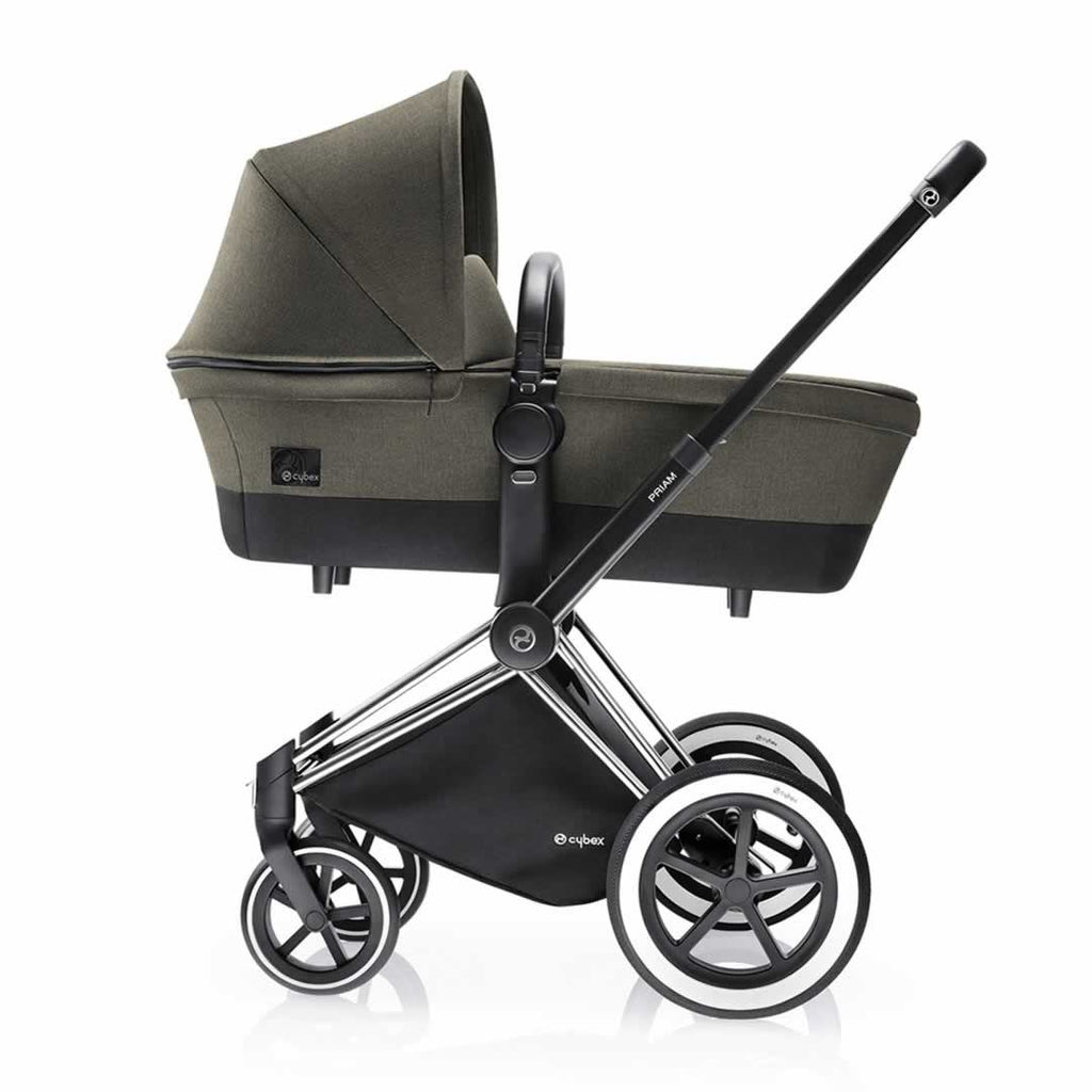 Cybex Priam Pushchair with 2in1 Seat - Chrome Chassis + Manhattan Grey - Strollers - Natural Baby Shower