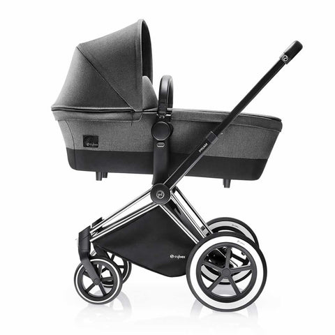 Cybex Priam Pushchair with Carrycot - Chrome Chassis + Manhattan Grey - Strollers - Natural Baby Shower