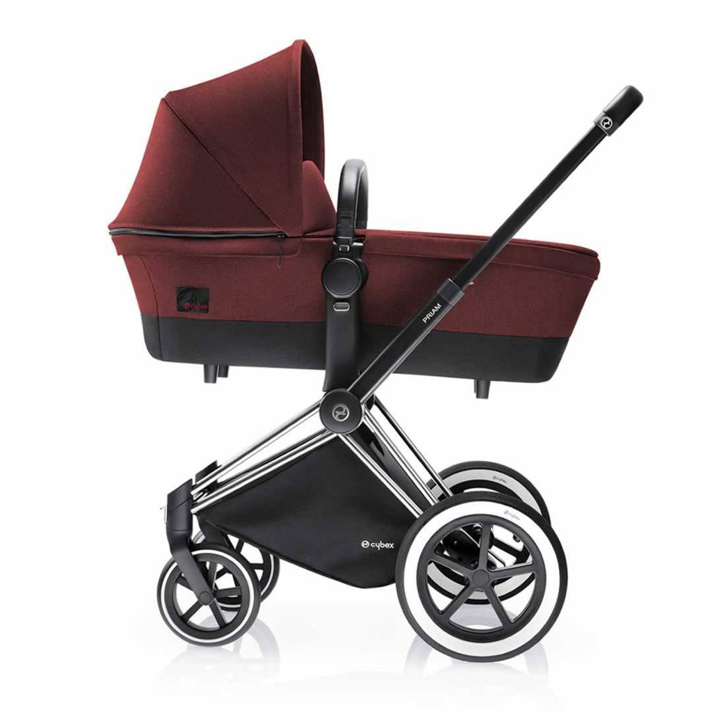 Cybex Priam Pushchair with Carrycot - Chrome Chassis + Mars Red - Strollers - Natural Baby Shower