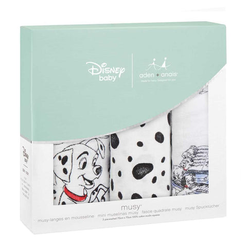 aden + anais Classic Musy - 101 Dalmatians - 3 Pack-Muslin Squares-101 Dalmatians- Natural Baby Shower