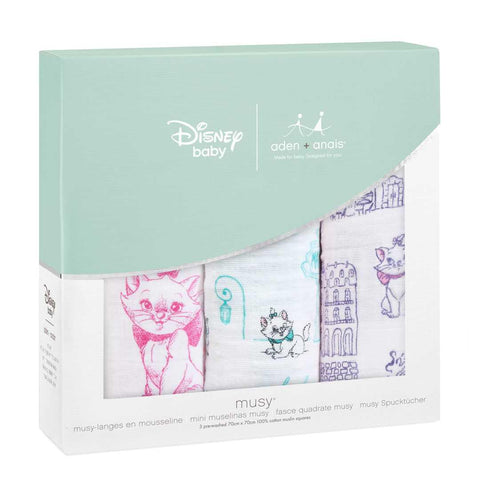 aden + anais Classic Musy - Aristocats - 3 Pack-Muslin Squares-Aristocats- Natural Baby Shower