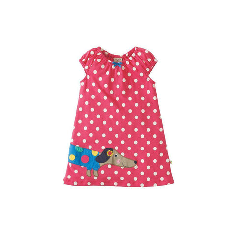 Frugi Little Lola Dress - Raspberry Polka/Dog