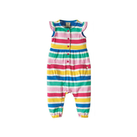 Frugi Flower Button Dungaree - Candy Stripe