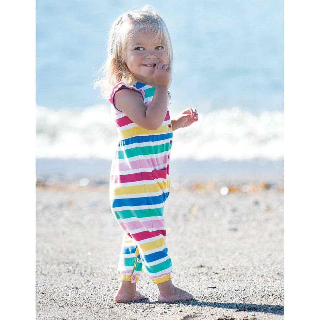 Frugi Flower Button Dungaree - Candy Stripe Lifestyle