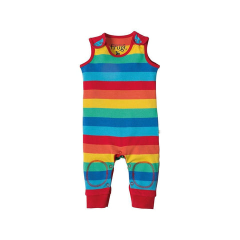 Frugi Kneepatch Dungaree - Rainbow Stripe