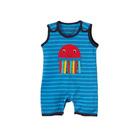 Frugi Lundy Dungaree - Ocean Mini Breton/Jelly