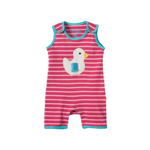 Frugi Lundy Dungaree - Raspberry Mini Breton/Duck