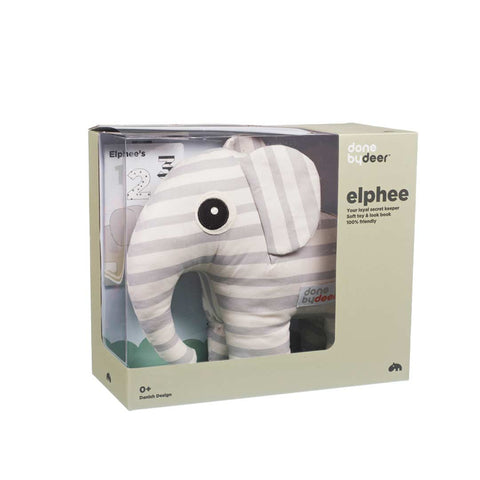 Done by Deer Soft 3D Elphee Toy + Booklet - Grey-Soft Toys- Natural Baby Shower