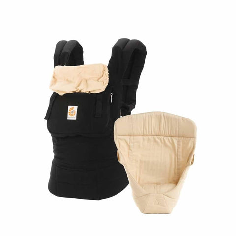 Ergobaby Bundle of Joy Carrier + Snug Infant Insert - Black/Camel - Baby Carriers - Natural Baby Shower