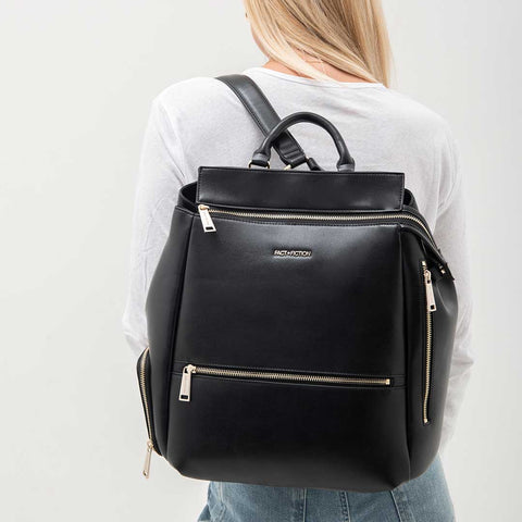 FACT + FICTION Charli Backpack - Black-Changing Bags- Natural Baby Shower
