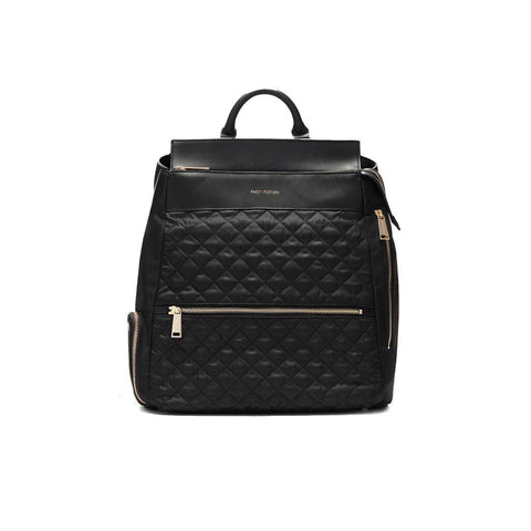 FACT + FICTION Charli Quilted Backpack - Black-Changing Bags- Natural Baby Shower