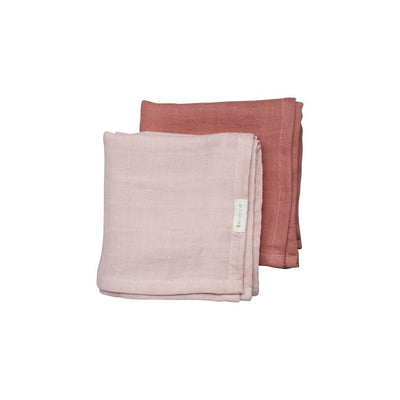 Fabelab Muslin Cloths - 2 Pack - Berry-Muslin Squares- Natural Baby Shower