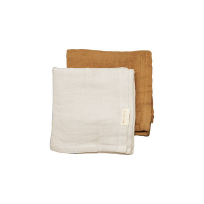 Fabelab Muslin Cloths - 2 Pack - Fawn-Muslin Squares- Natural Baby Shower