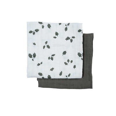 Fabelab Muslin Cloths - 2 Pack - Oak Leaf-Muslin Squares- Natural Baby Shower