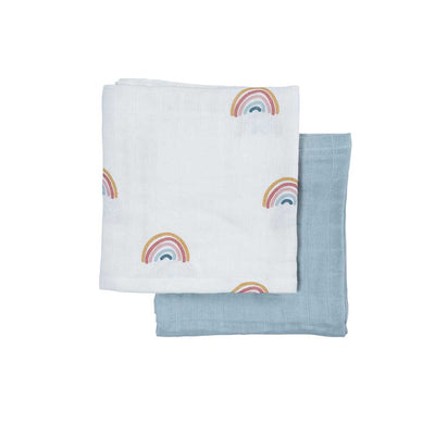 Fabelab Muslin Cloths - 2 Pack - Rainbow-Muslin Squares- Natural Baby Shower