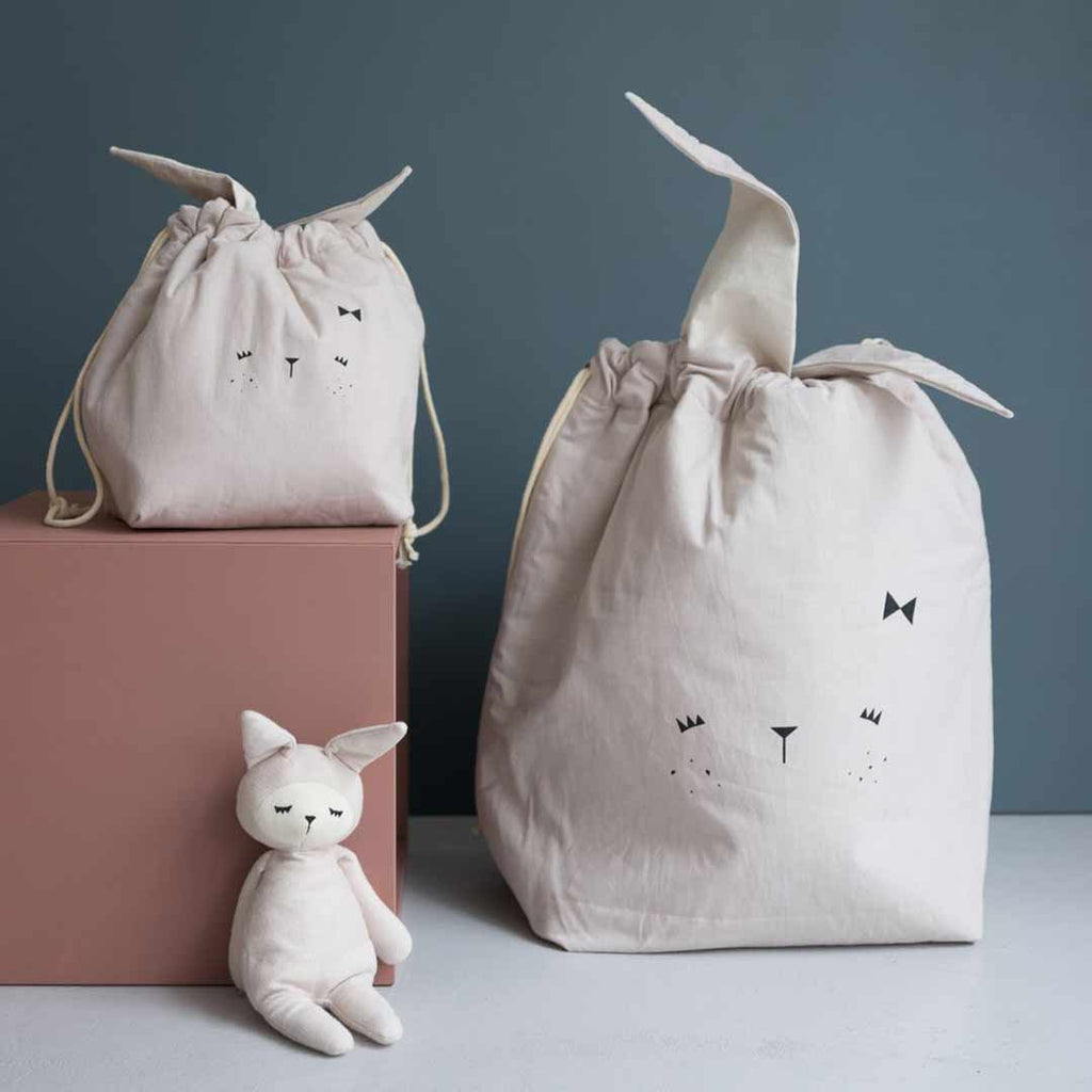 Fabelab Small Storage Bag - Bunny - Mauve-Storage- Natural Baby Shower