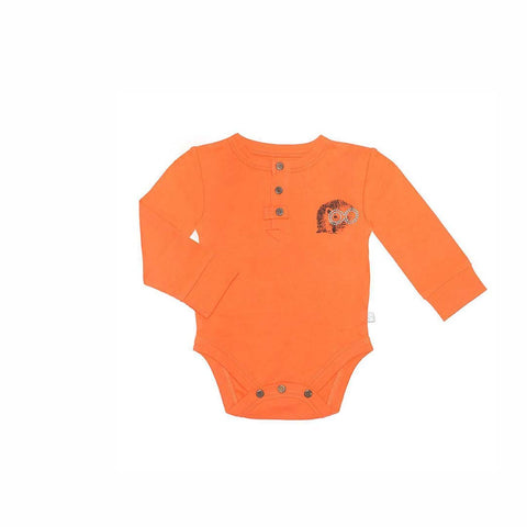 Finn + Emma Long Sleeved Bodysuit - Poppy Orange-Bodysuits- Natural Baby Shower