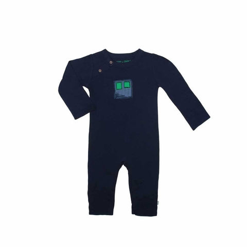 Finn + Emma Coverall - Peacoat Navy-Rompers- Natural Baby Shower