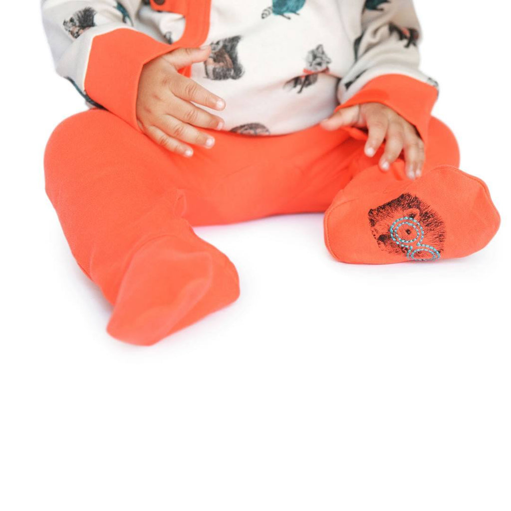 Finn + Emma Footed Pants - Poppy Orange-Pants- Natural Baby Shower