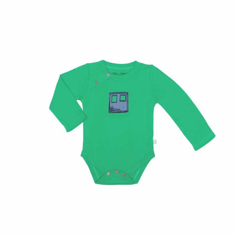 Finn + Emma Long Sleeve Bodysuit - Bright Green-Bodysuits- Natural Baby Shower