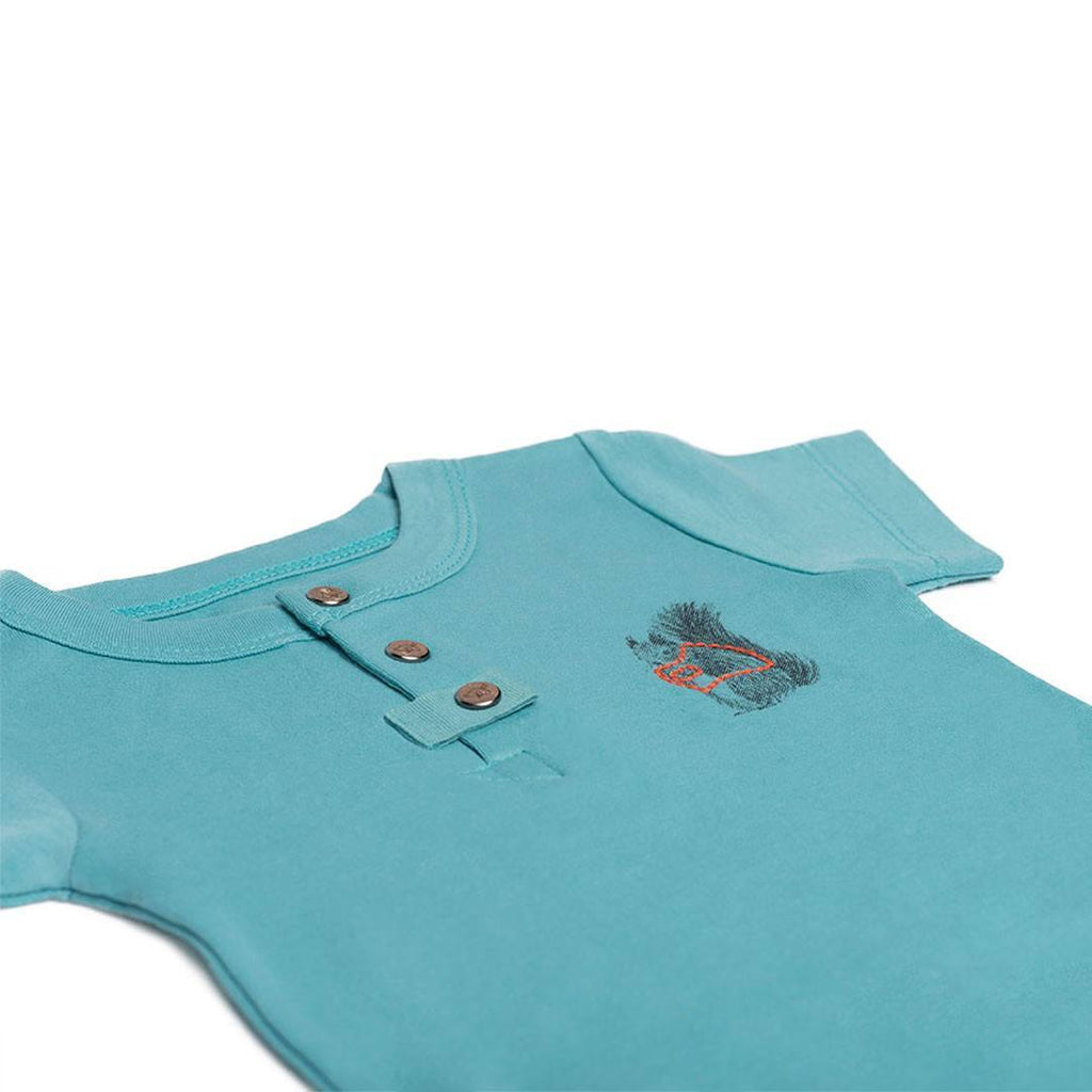 Finn + Emma Short Sleeved Bodysuit - Dusty Turquoise - Bodies & Vests - Natural Baby Shower