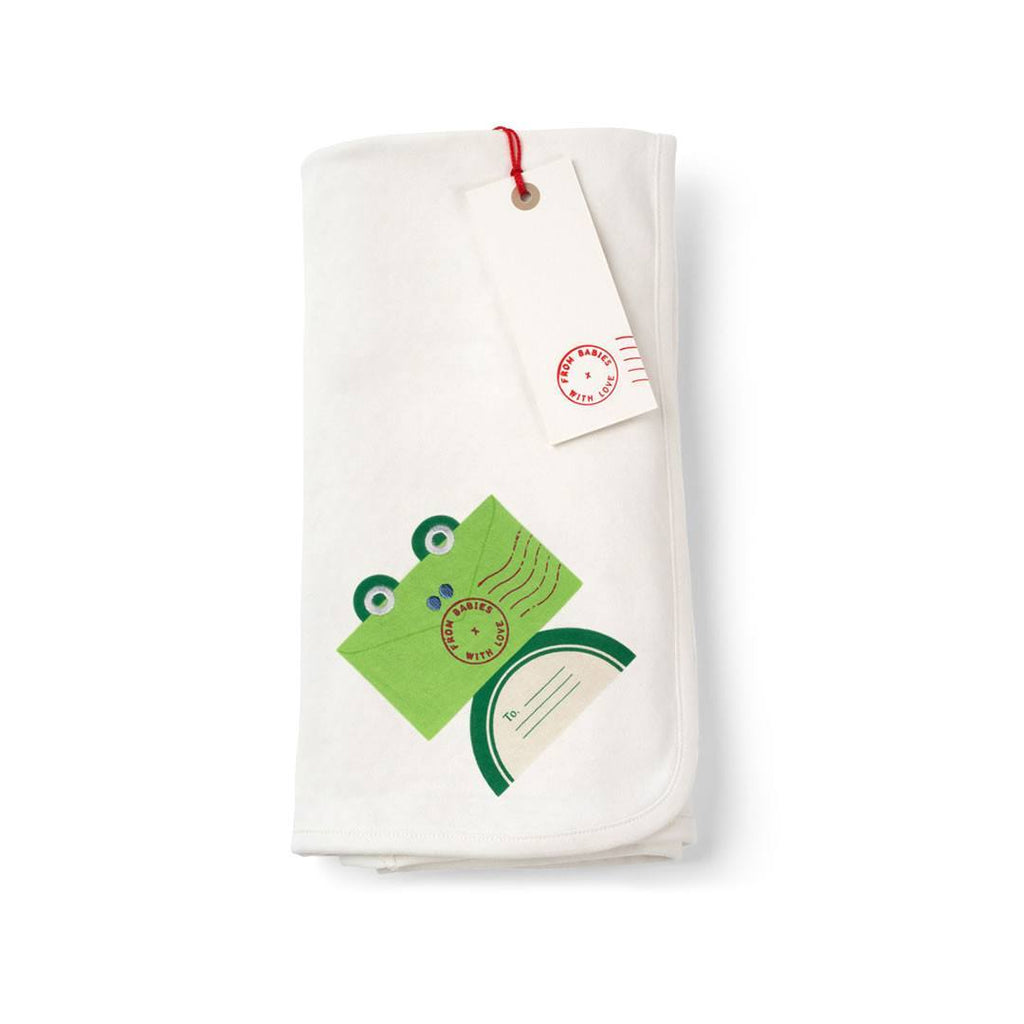 From Babies With Love Swaddle Blanket - Frog-Blankets-Frog- Natural Baby Shower