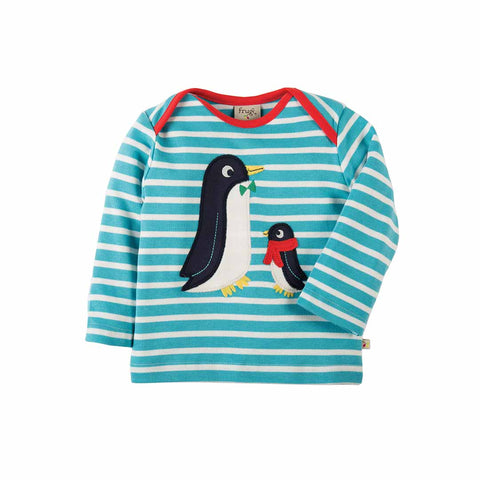 Frugi Bobby Applique Top - Aqua Breton/Penguins