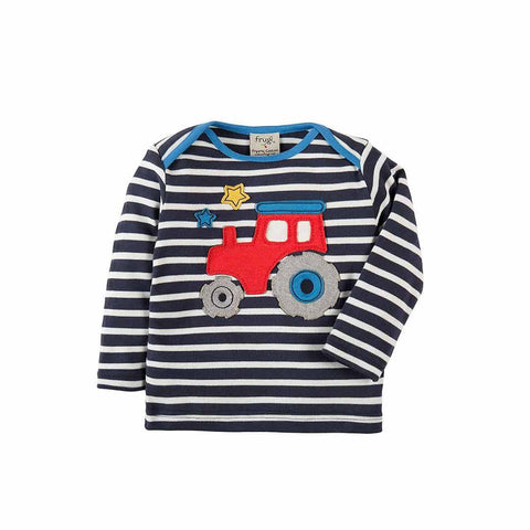 Frugi Bobby Applique Top - Navy Breton/Tractor