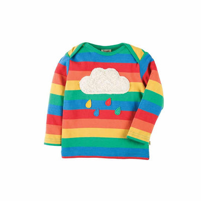 Frugi Bobby Applique Top - Rainbow/Cloud-Long Sleeves- Natural Baby Shower