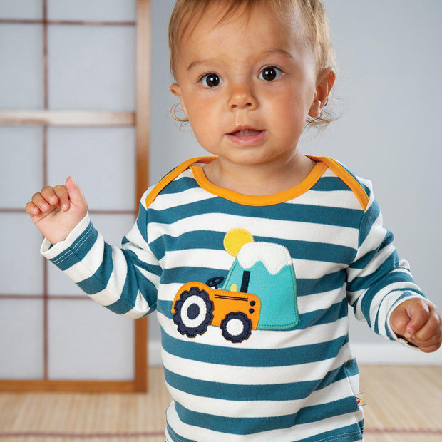 Frugi Bobby Applique Top - Steely Blue Stripe-Long Sleeves- Natural Baby Shower