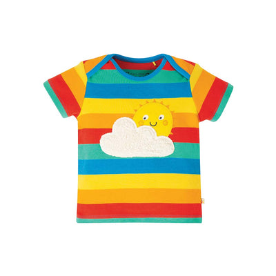 Frugi Bobster Applique Top - Rainbow Multi Stripe-Short Sleeves- Natural Baby Shower