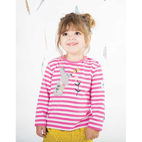 Frugi Button Applique Top - Flamingo Stripe-Long Sleeves- Natural Baby Shower