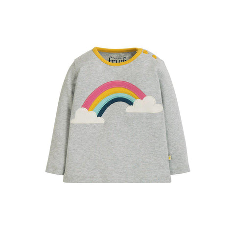 Frugi Button Applique Top - Grey Marl/Rainbow-Long Sleeves- Natural Baby Shower