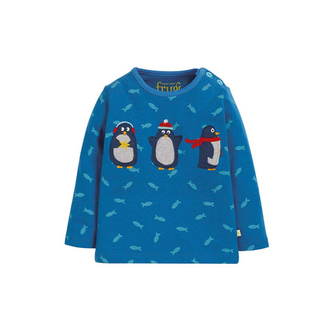Frugi Button Applique Top - Swimming Shoals/Penguins-Long Sleeves- Natural Baby Shower